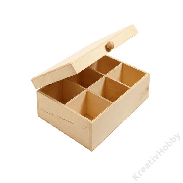 Teafiltertartó doboz, 6 rekeszes