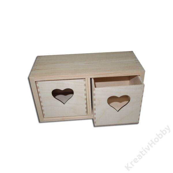 Fiókos szekrény szív kivágással