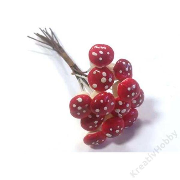 Betűző gomba 2,5cm piros,fehér pettyes