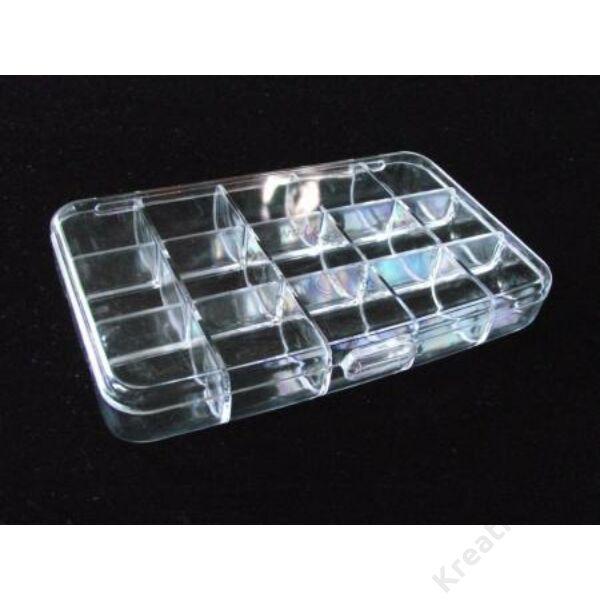 Műanyag rekeszes tároló, téglalap, 9x15 cm