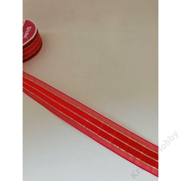 Szalag piros-arany csíkokkal 25mm 3m/tekercs