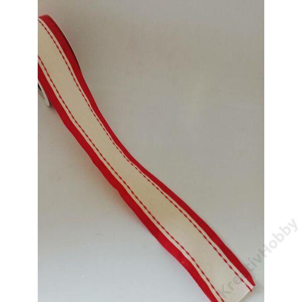 Karácsonyi szalag vászonból natúr-piros 40mm 2m/tekercs