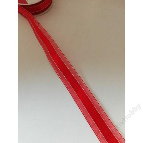 Karácsonyi szalag.piros ezüst csíkkal 25mm,3m/tekercs