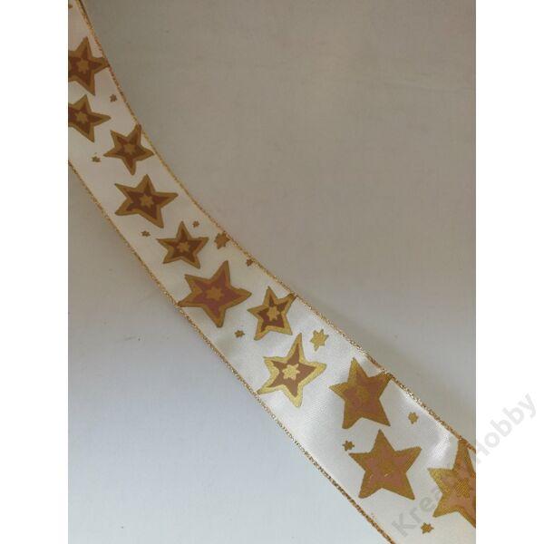 Karácsonyi szalag ,arany csillagokkal 40mm,2m/tekercs