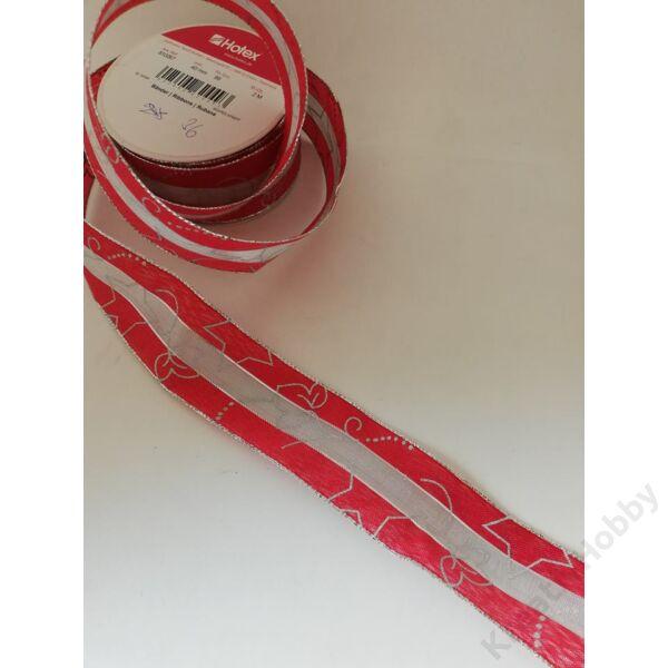 Karácsonyi szalag,piros ezüst mintával 40mm,2m/tekercs