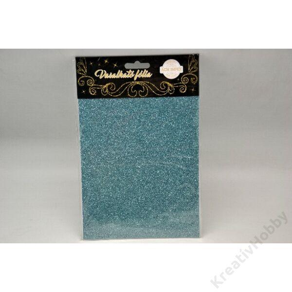 Vasalható fólia,glitteres,világoskék 15*20cm 2db/cs