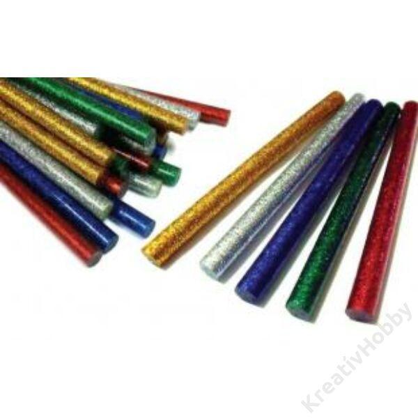 Ragasztó patron,glitteres,11mm,piros