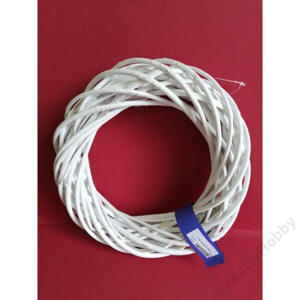 Szines vesszőkoszorú 25cm ,fehér