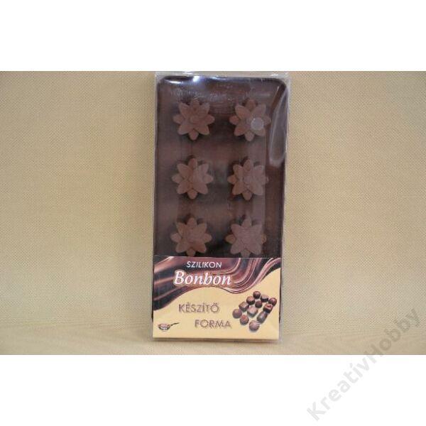 Szilikon csokiöntő forma, 15db-os, 21x10,5cm - Nyíló virág