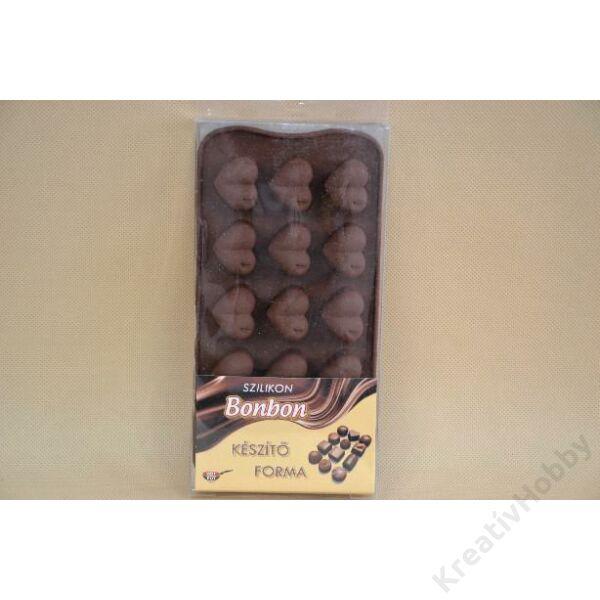 Szilikon csokiöntő forma, 15db-os, 21x10,5cm - Szív