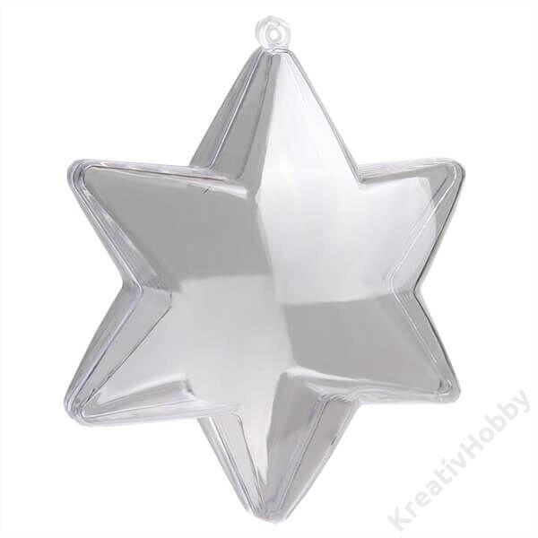 Átlátszó műanyag csillag 16 cm-es