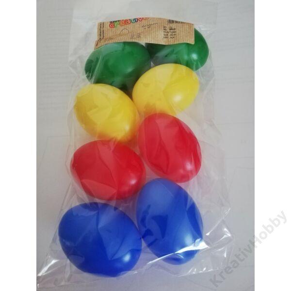 Műanyag tojás szines  6cm 8db/cs