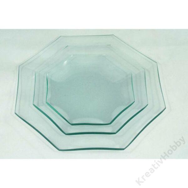 Üvegtál  nyolcszögletű,14cm