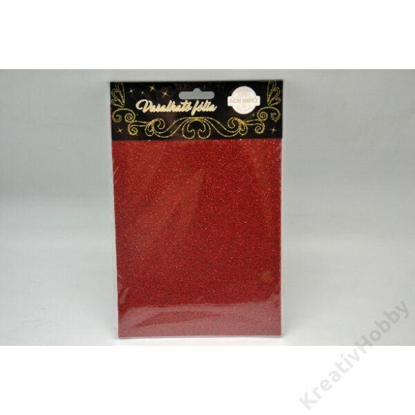Vasalható fólia,glitteres,piros15*20cm 2db/cs