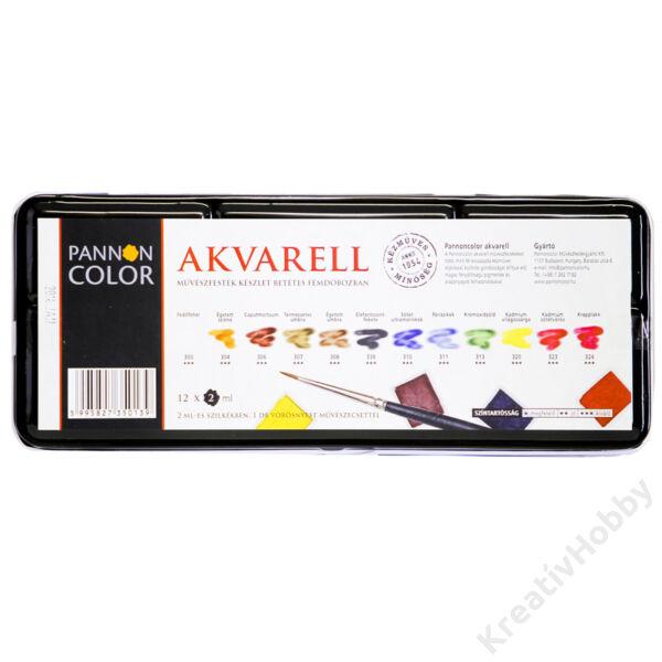Pannoncolor akvarell fémdobozos készlet, 12*2ml