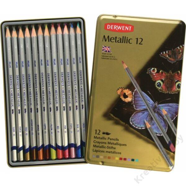 Metálfényű színes ceruza klt 12szín/klt