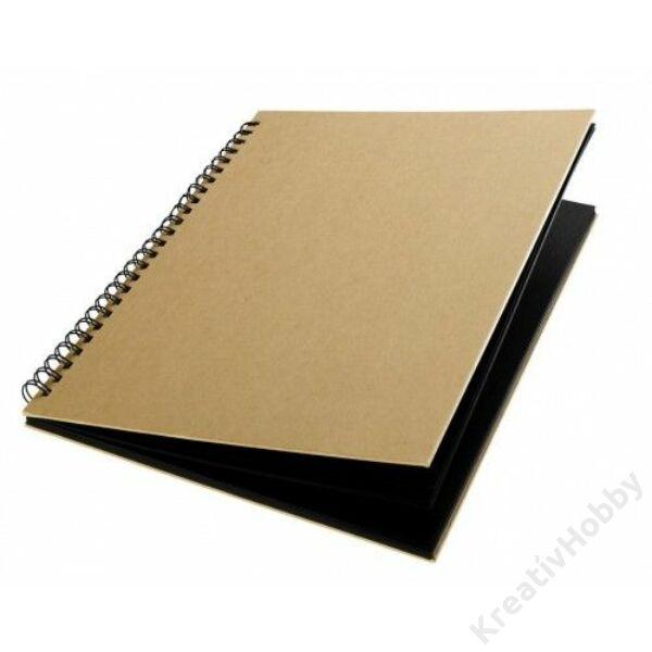 Notesz, spirálos, fekete lappal, 16x22 cm