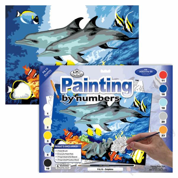 Számozott kifestő, 286*390,5mm - Delfinek