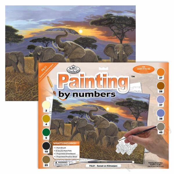 Számozott kifestő, 286*390,5mm - Elefántok