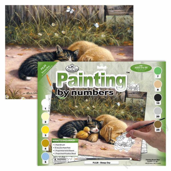 Számozott kifestő, 286x390,5mm - Cica és kutyus
