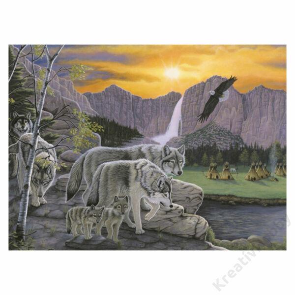 Számozott kifestő - Farkasok a természetben