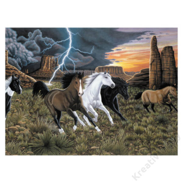 Számozott kifestő - Lovak a viharban