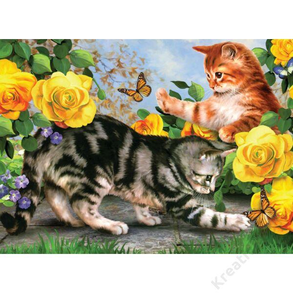 Számozott kifestő, macskák rózsákkal