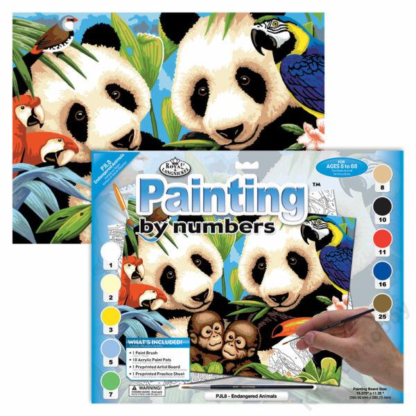 Számozott kifestő, 286*390,5mm - Veszélyeztetett állatok