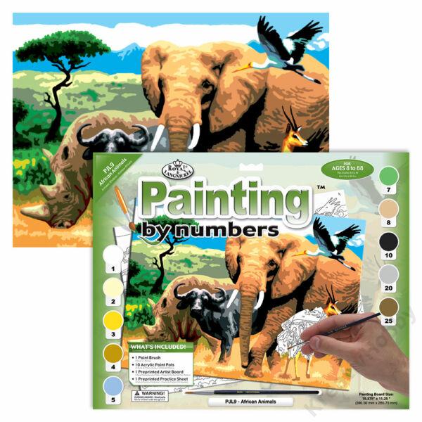 Számozott kifestő, 286*390,5mm - Afrikai állatok