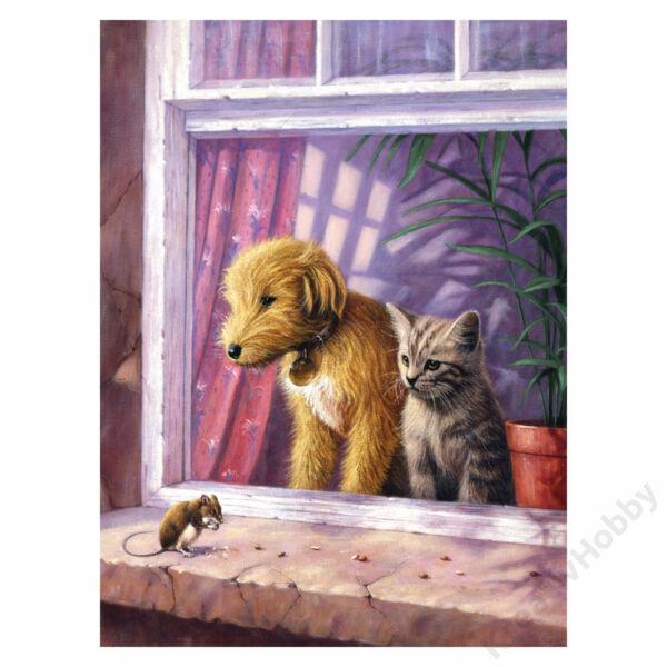 Számozott kifestő, 222,3*298,5mm - Kutya és Cica az ablakban