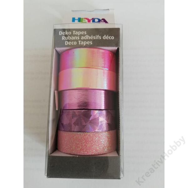 Dekor ragasztószalag,metál,hologrammos,glitteres/Rózsaszín 5db/cs