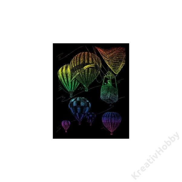 Karckép, szivárványos, hőlégballon