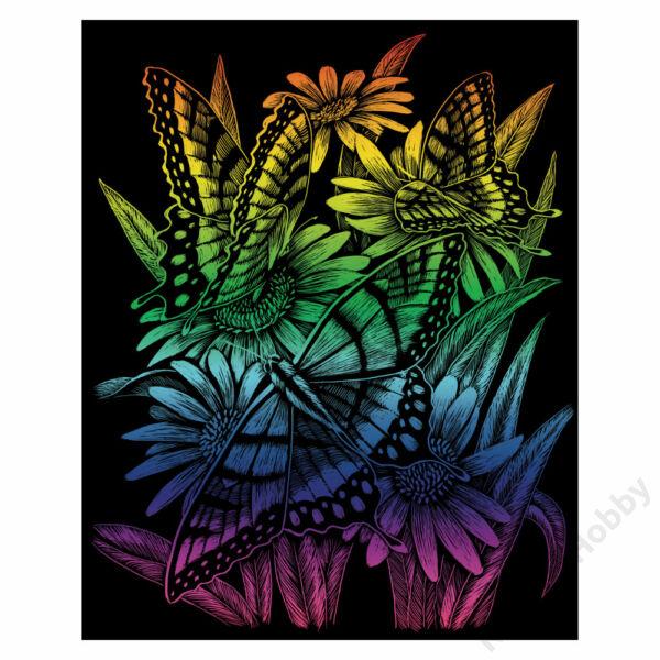 Karckép, szivárványos, 203*254mm - Lepkék és virágok
