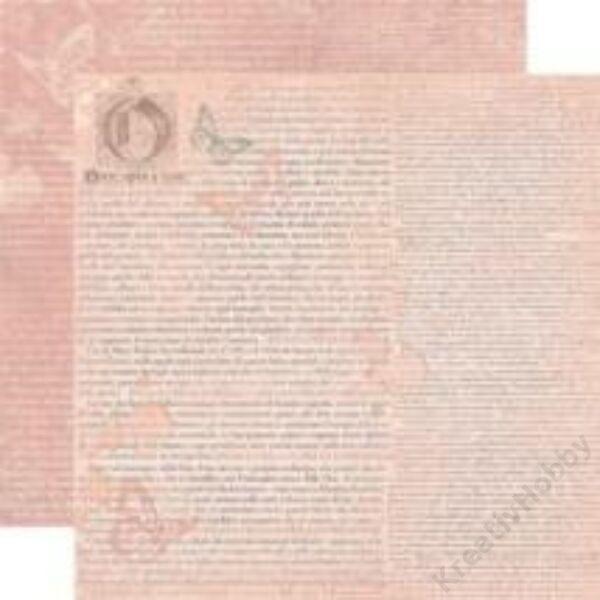 Kétoldalas papír, 31,2 x 30,3 cm ,írás rózsaszín alapon