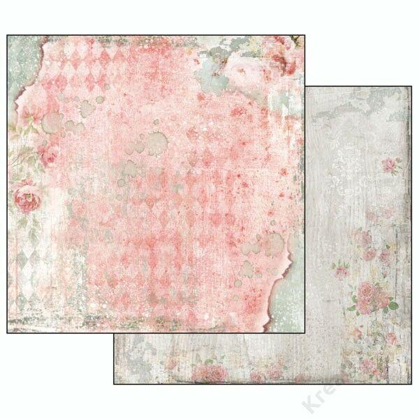 Kétoldalas papír, 31,2 x 30,3 cm ,Álom mintás rózsával