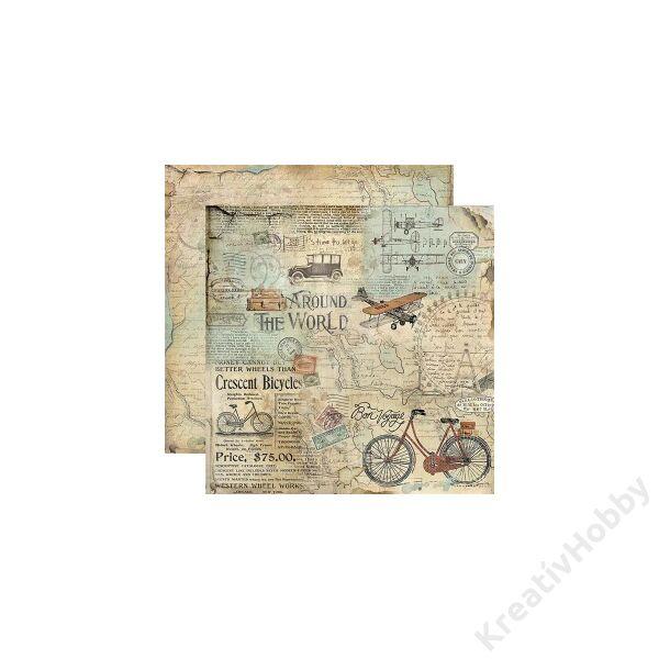 Kétoldalas papír, 31,2 x 30,3 cm ,Világ körül