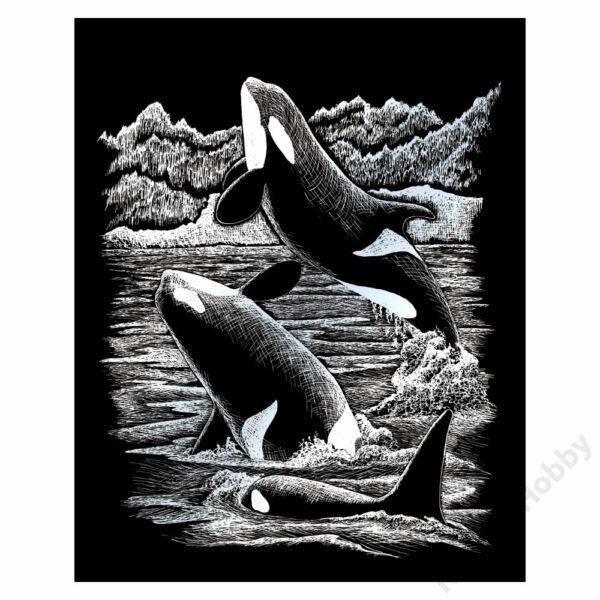 Karckép, ezüst, 203x254mm - Kardszárnyú delfin