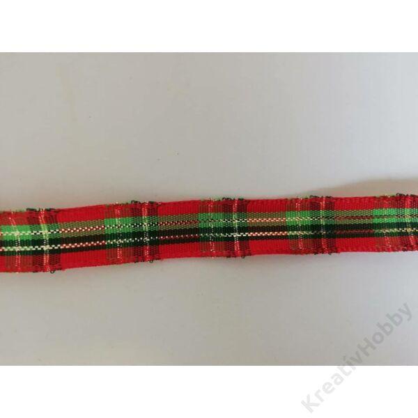 Karácsonyi szalag ,kockás 15mm 3m/tekercs