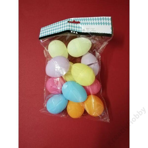 Műanyag tojás szétnyitható, színes 6cm, 12db/cs.