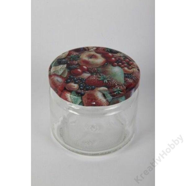 Üveg, KONZERVES 330 ml, tutti-frutti erdei tetővel