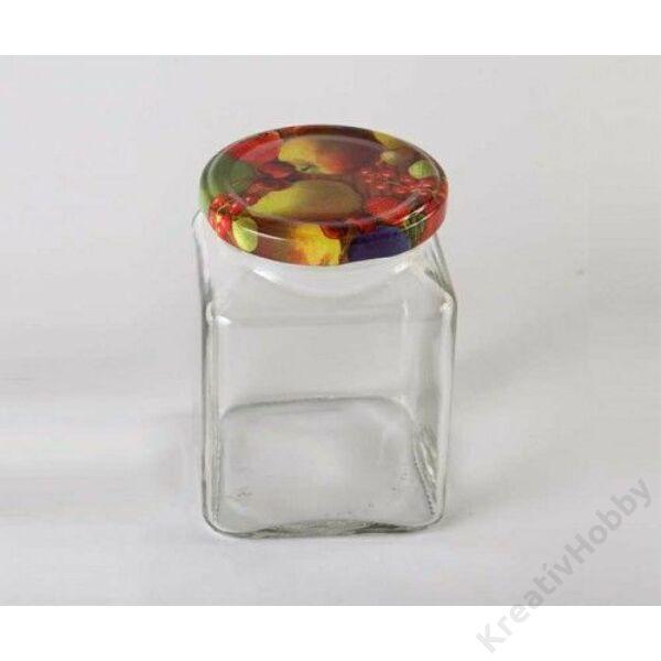 Üveg, KVADRO 270ml gyümölcs tutti-frutti tetővel