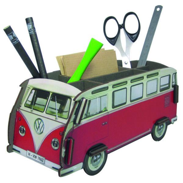 Asztali ceruzatartó - VW Retro busz - piros