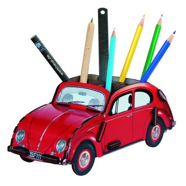 Asztali ceruzatartó - VW Bogár - piros