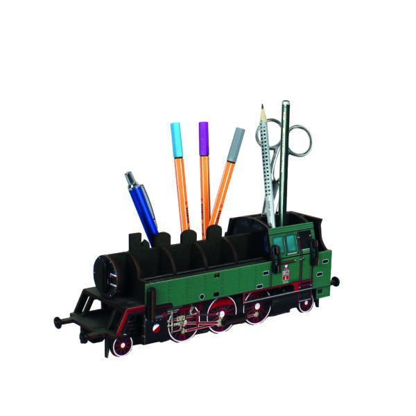 Asztali ceruzatartó - Gőzmozdony - zöld