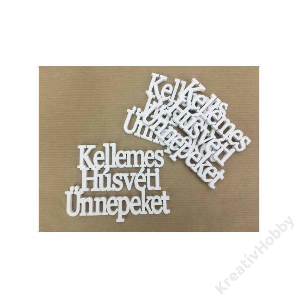 """Lézervágott fa felirat """"Kellemes Húsvéti Ünnepeket"""" ,fehér 15x11cm"""