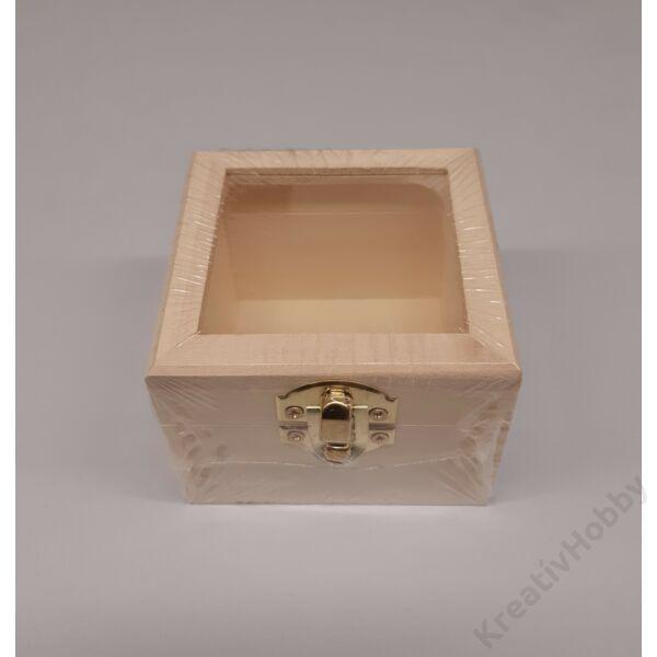 Minidoboz, négyzet alapú, üvegbetétes, 8 x 8 x 6 cm