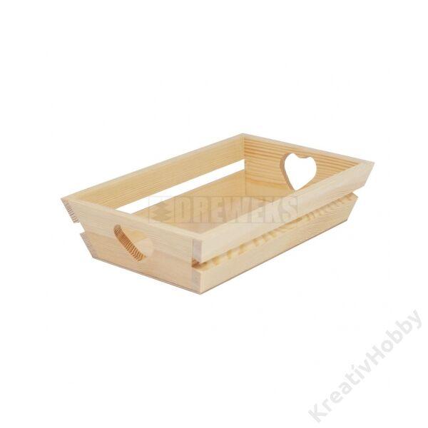Fa kínáló kosár, szíves 18,8x12x5,6cm