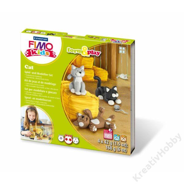 Gyurmakészlet, Fimo Kids, 4*42g, macskák
