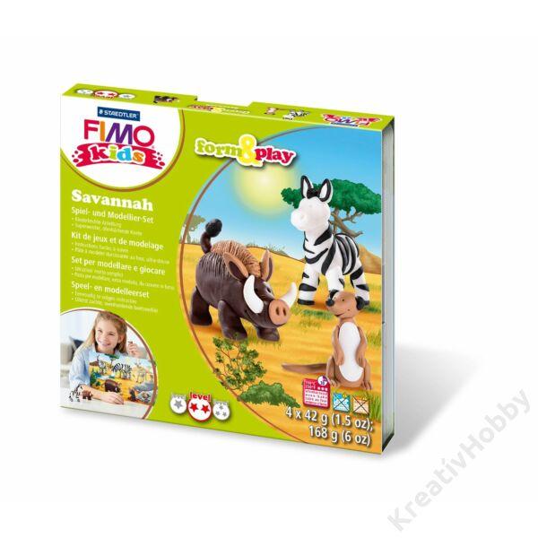 Gyurmakészlet, Fimo Kids, 4*42g, savanna