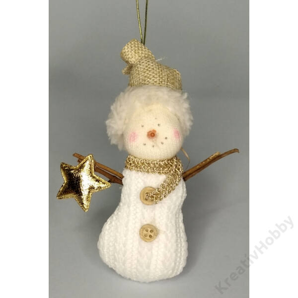 Hóember textil 11 cm fehér, barna, arany csillaggal